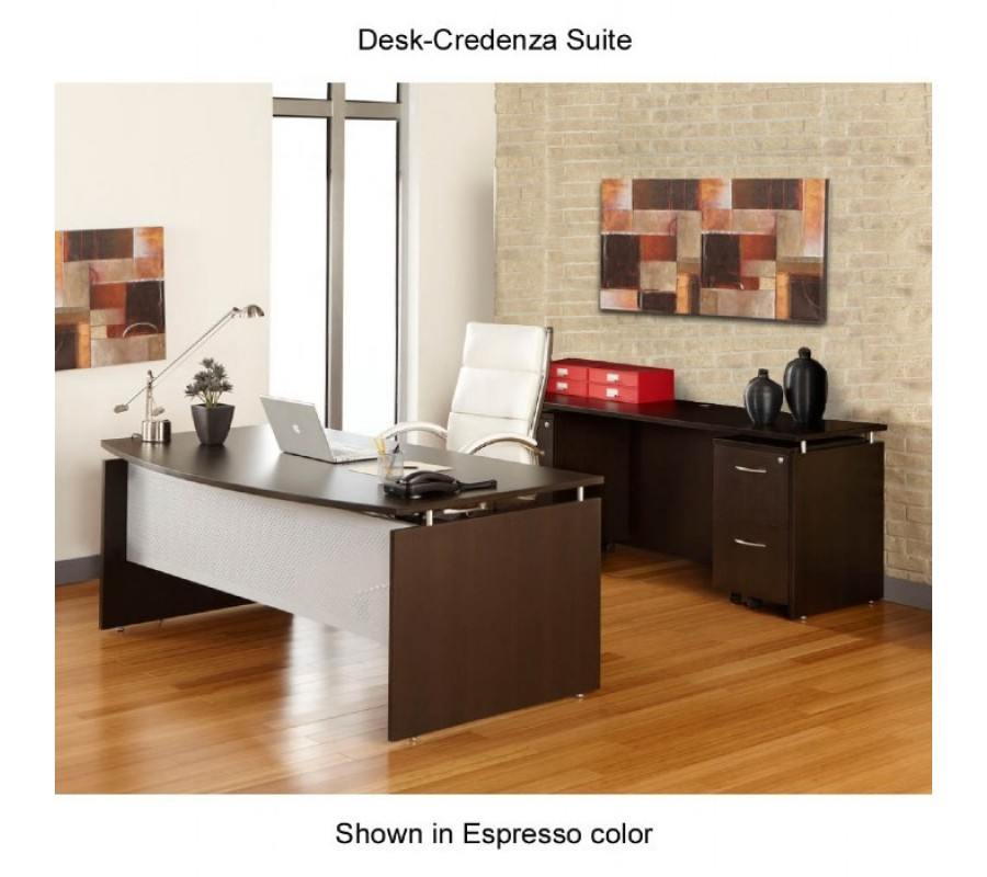 Laminate Office Desk W Credenza And Floating Top Style In