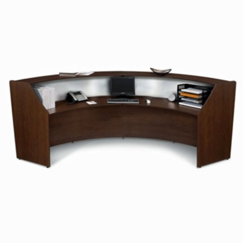 Double Unit Reception Desk In Walnut Finish With Plexi Glass And Silver Frame Contemporary