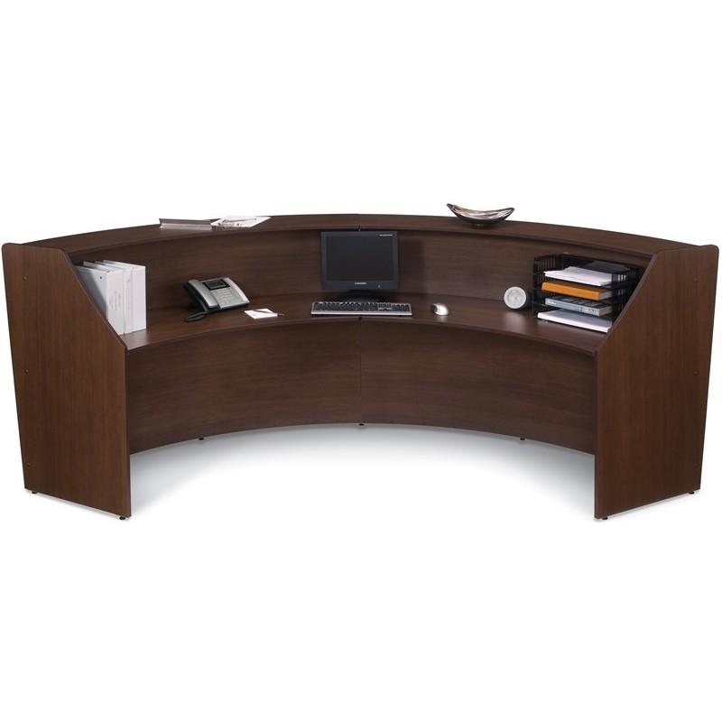 Contemporary Double Unit Reception Desk In Walnut Finish