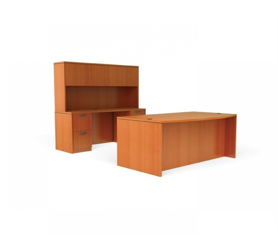 Free standing office desk set with credenza and hutch for Standing office desk furniture