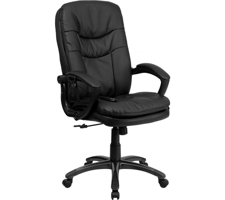 Extra Soft Double Padded Black Leather Massage Office Desk Chair CHAIRS